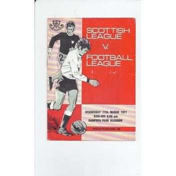 Scottish League v Football League Football Programme 1971 at Hampden