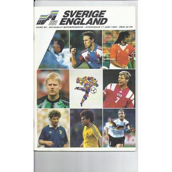 Euro 92 Sweden v England Football Programme