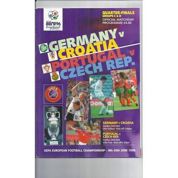 Euro 96 Qtr Final Group C & D Programme Germany, Croatia, Portugal, Czech Rep