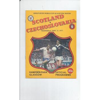 1977 Scotland v Czechoslovakia Football Programme