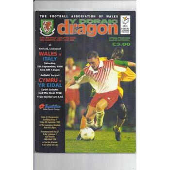 1998 Wales v Italy Football Programme @ Liverpool