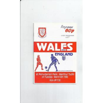 1990 Wales v England Non League International Football Programme @ Merthyr