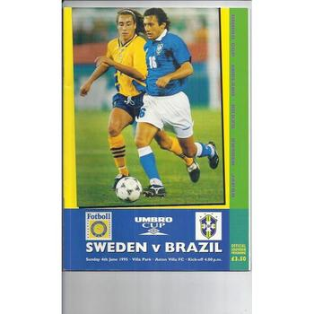 1995 Sweden v Brazil Football Programme + Ticket & Stadium Guide @ Aston Villa