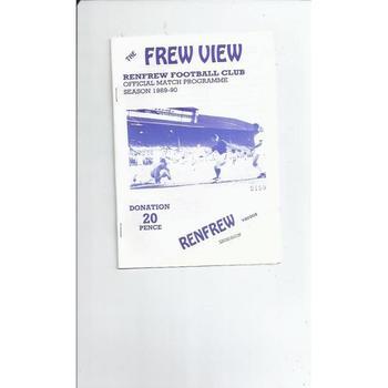 1989/90 Renfrew v Lesmahagow Football Programme