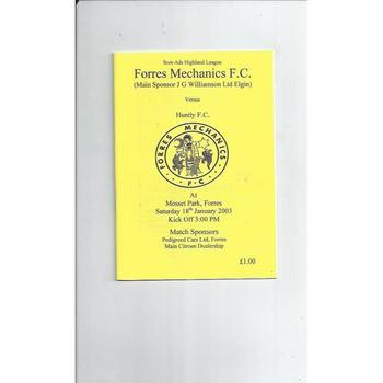 Forres Mechanics v Huntly Football Programme 2002/03