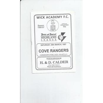 1996/97 Wick Academy v Cove Rangers Football Programme