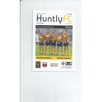 Huntly v Rothes Football Programme 2004/05