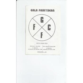 1980/81 Gala Fairydean v Whitehill Welfare & C. S Strollers Double Football Programme
