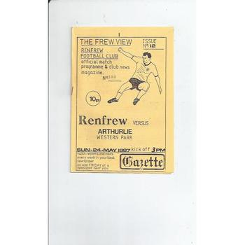 Renfrew v Arthurlie Football Programme 1986/87