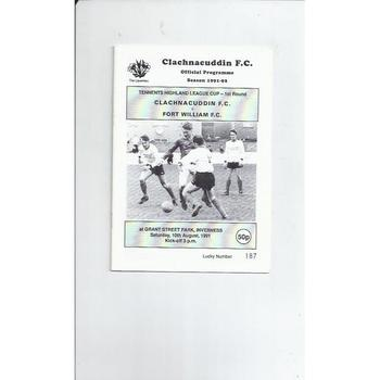 Clachnacuddin v Fort William League Cup Football Programme 1991/92