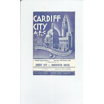 1955/56 Cardiff City v Manchester United Football Programme