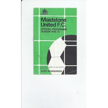 1974/75 Maidstone United v Guildford  & Dorking United League Cup Football Programme