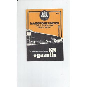 1980/81 Maidstone United v  Gravesend & Northfleet Football Programme