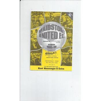 1985/86 Maidstone United v Cheltenham Town Football Programme