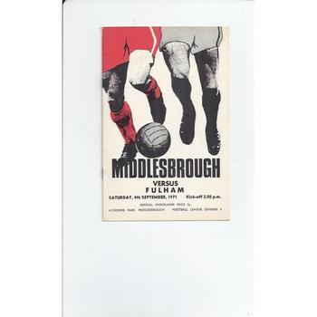 1971/72 Middlesbrough v Fulham Football Programme