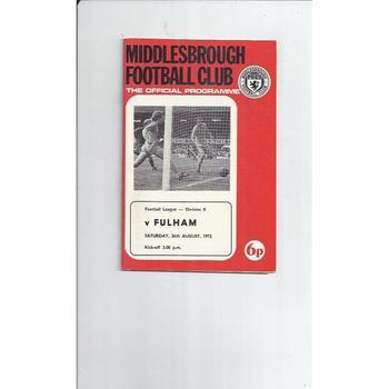 1972/73 Middlesbrough v Fulham Football Programme