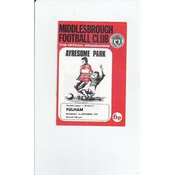 1973/74 Middlesbrough v Fulham Football Programme