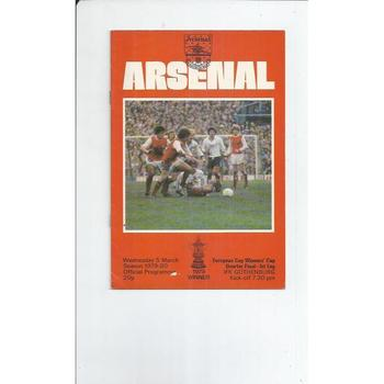 Arsenal v Gothenburg Cup Winners Cup Football Programme 1979/80