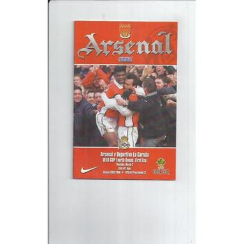 Arsenal v La Coruna Champions League Football Programme 1999/00