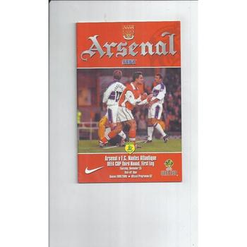 Arsenal v Nantes Champions League Football Programme 1999/00