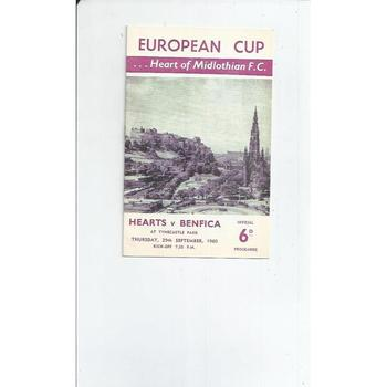 1960/61 Hearts v Benfica European Cup Football Programme