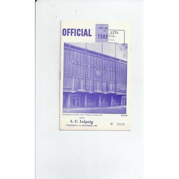 1965/66 Leeds United v Leipzig Inter City Fairs Cup Football Programme