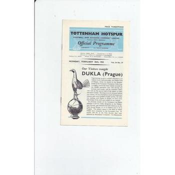 1961/62 Tottenham Hotspur v Dukla Prague European Cup Football Programme