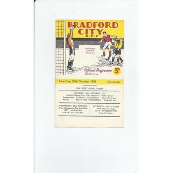 1958/59 Bradford City v Colchester United Football Programme