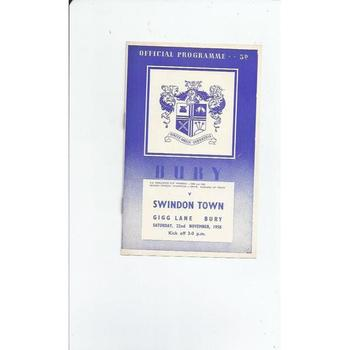 1958/59 Bury v Swindon Town Football Programme