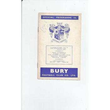 1959/60 Bury v Reading Football Programme