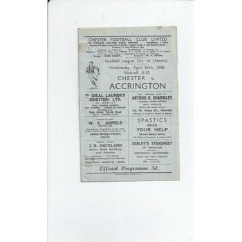 1957/58 Chester v Accrington Stanley Football Programme