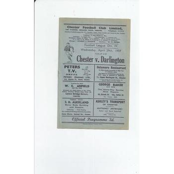 1958/59 Chester v Darlington Football Programme