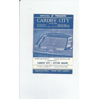 1957/58 Cardiff City v Leyton Orient Football Programme