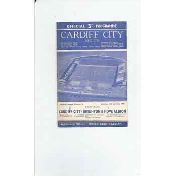1958/59 Cardiff City v Brighton Football Programme