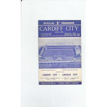 1959/60 Cardiff City v Lincoln City Football Programme
