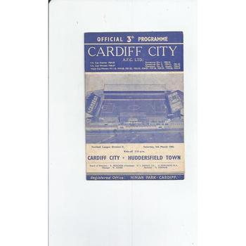 1959/60 Cardiff City v Huddersfield Town Football Programme