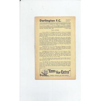 1958/59 Darlington v Port Vale Football Programme
