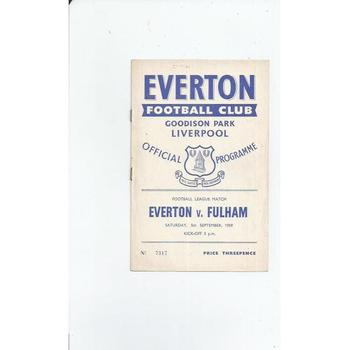 1959/60 Everton v Fulham Football Programme