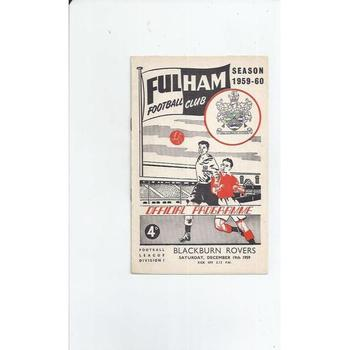 1959/60 Fulham v Blackburn Rovers Football Programme
