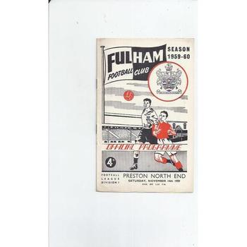 1959/60 Fulham v Preston Football Programme