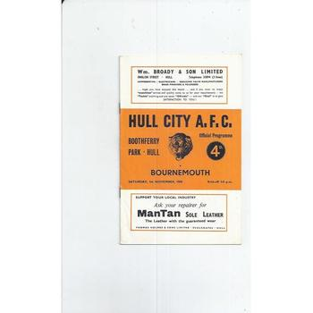 1958/59 Hull City v Bournemouth Football Programme