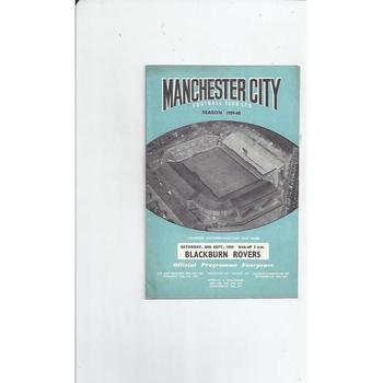 1959/60 Manchester City v Blackburn Rovers Football Programme