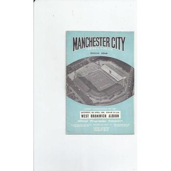 1959/60 Manchester City v West Bromwich Albion Football Programme