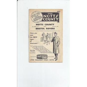 1957/58 Notts County v Bristol Rovers Football Programme