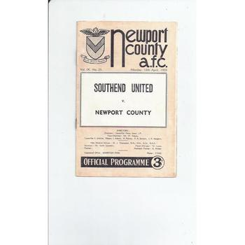 1958/59 Newport County v Southend United Football Programme