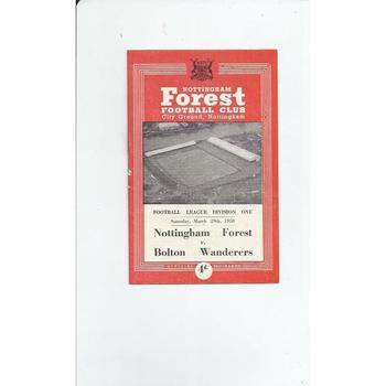 1957/58 Nottingham Forest v Bolton Wanderers Football Programme