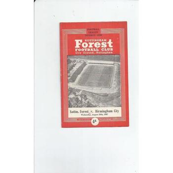 1957/58 Nottingham Forest v Birmingham City Football Programme