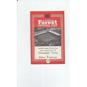 1959/60 Nottingham Forest v Bolton Wanderers Football Programme
