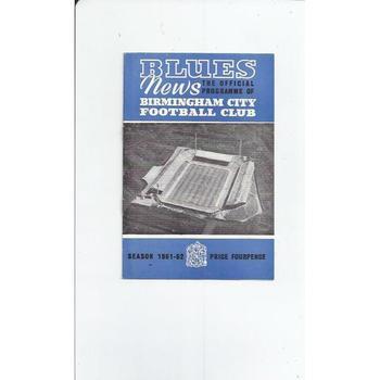 1961/62 Birmingham City v Sheffield Wednesday Football Programme