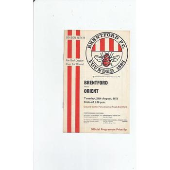 1973/74 Brentford v Leyton Orient League Cup Football Programme